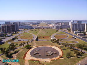 Helicopter panoramic flight over Monumental Axle in Brasília